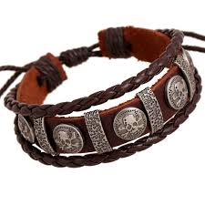 bracelet leather mens images Vintage rope leather mens bracelets leather rope hand woven jpg