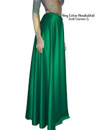 Long Flowy Maxi Skirt Maxi Satin Skirt Green Flowy Full Length Formal Party Skirt Xs