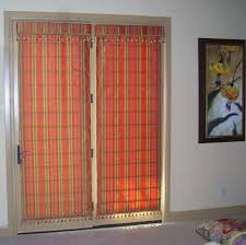 blind with plaid red brown colors for french door cover decofurnish