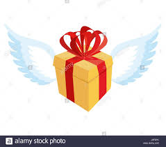 gift box with ribbon gift with wings flying gift box with bow and ribbon stock