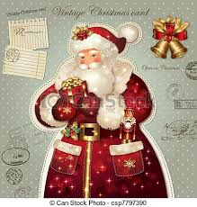vector clipart of christmas card with santa claus vintage