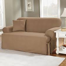 2 Piece T Cushion Sofa Slipcover by Sofas Center One Piece T Cushion With Box Pleat Skirt Bluefa
