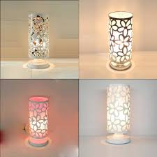 superior cute table lamp modern painted metal hollow out cylinder