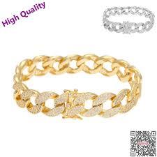 silver plated copper bracelet images Hip hop micro pave cz cuban link bracelet copper cubic zircon mens jpg