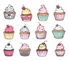 sketches of a variety of cupcakes stock vector image 77437277