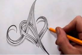 letters designs for tattoos initial a and heart combined together celtic weave style