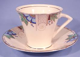 crownford art deco blue flowers vintage bone china tea cup saucer