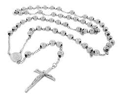 mens rosary mens silver tone stainless steel rosary necklace with