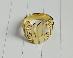 monogrammed rings silver silver monogram ring etsy