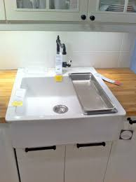 Ikea Sink Kitchen Ikea White Farmhouse Kitchen Sinks With Solid Wood Butcher Block