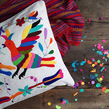 Cusion Cover Mexican Cushion Cover Hand Embroidered By Chilpa