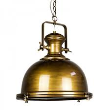 Antique Brass Ceiling Light Gaia Industrial Pendant Light Antique Brass The Block Shop