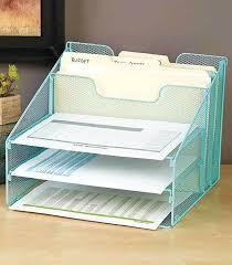 Wire Mesh Desk Accessories 5 Compartment Blue Wire Mesh Desktop File Organizer Paper Storage