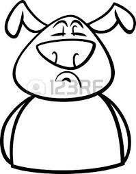 black white cartoon illustration funny dog expressing