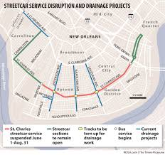 New Orleans Street Car Map by Uptown Traffic To Worsen As Canal Work Suspends St Charles