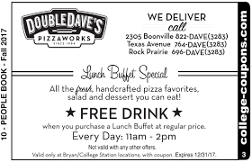 Double Daves Pizza Buffet Hours by College Coupons Texas A U0026m University Double Dave U0027s Coupon