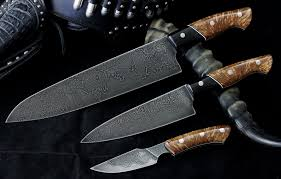 custom 3 piece kitchen set san mai damascus bladeforums com