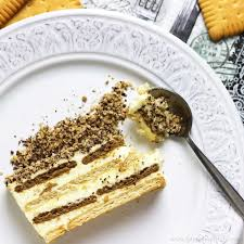 Biscuit Cake No Bake Biscuit Cake With Pudding Recipe Video Happy Foods Tube