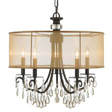 crystorama crystorama hampton 5 light drum shade bronze chandelier