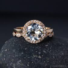 conflict free engagement rings gold aquamarine ring milgrain leaf band non diamond