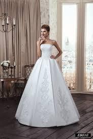 eb010 classy strapless wedding dress with a straight neckline