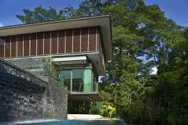 villa exterior house concept borrows the nature sense from