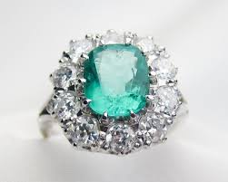 emerald u0026 diamond halo ring art deco emerald halo ring