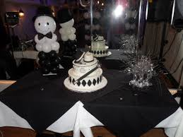 Black Table Centerpieces by White Silver And Black Party Decorations By Teresa