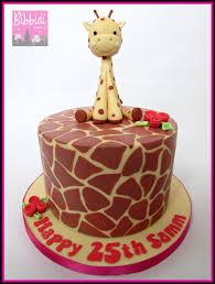 giraffe print cake with sugarpaste giraffe by bibbidi cake co