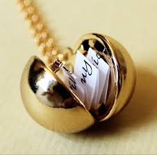 necklace locket images Shiny gold secret message locket gold ball locket necklace jpg