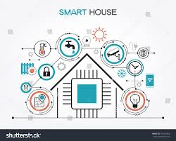 smart home control concept smart house stock vector 565245856