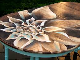 artwork with wood wood stain dahlia dining table reality daydream