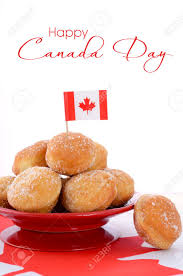 Canadian Flag 1960 Stack Of Donut Holes On Red Plate On Canadian Maple Leaf Flag