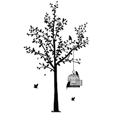 tree and birdcage wall sticker by spin collective tree and birdcage wall sticker