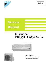 inverter pair ftk x j rk x j service manual air conditioning
