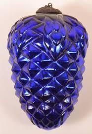 antique big blue brilliant cobalt kugel ornament orig cap