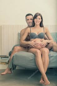 Cuddle In Bed Expecting Pregnant Couple Make Cuddle In Bed U2014 Stock Photo Info