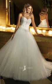 Wedding Dresses Ball Gown Sparkling Strapless Sweetheart Beaded Corset Lace Bodice Ball Gown