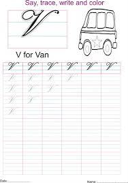 cursive captial letter u0027v u0027 worksheet