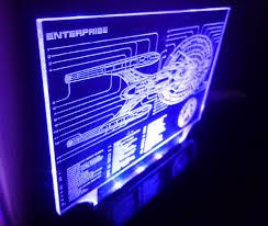 Neon Desk Lamp Star Trek Enterprise Blue Print Color Changing Led Desk Lamp Sci