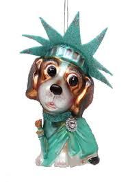 december diamonds blown glass ornament statue of liberty beagle