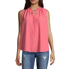 sleeveless tie neck blouse a n a sleeveless tie neck top sleeveless keyhole neck woven