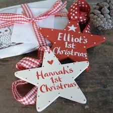 personalised baby u0027s first christmas star christmas stars