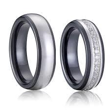couples rings titanium images Luxury custom tailor handmade titanium inlay black ceramic wedding jpg