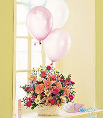 flowers and balloons birthday balloon basket in shawano wi ollie s flowers inc