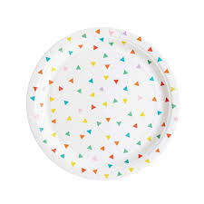 rainbow triangles paper plates set of 8 green pink yellow