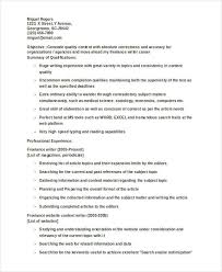 Freelance Writer Resume Sample by 8 Writer Resumes Free Sample Example Format Download Free