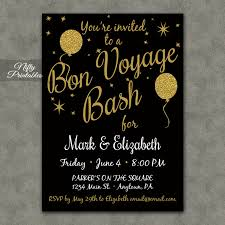 going away party invitations bon voyage invitations printable black gold bon voyage