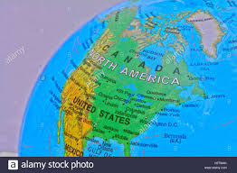 United States Canada Map by A Globe Showing The Map Of United States And Canada Stock Photo