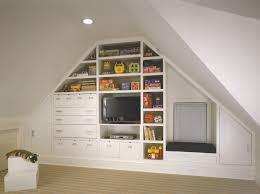 making a playroom in your attic wooden wall shelves playroom